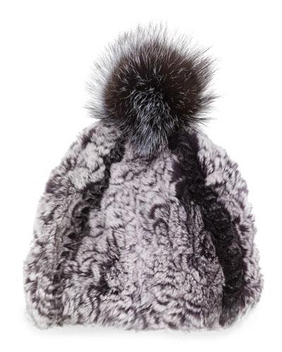 Knitted Fur Pom-Pom Hat, Black
