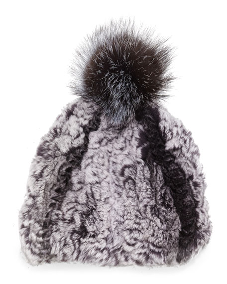 Glamourpuss NYC Knitted Fur Pom-Pom Hat, Black