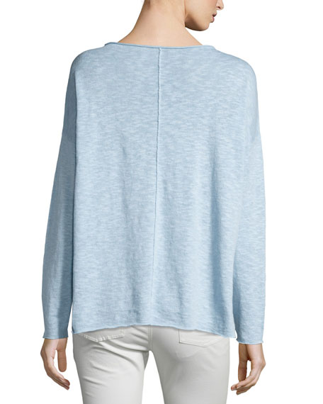 Long-Sleeve Linen-Blend Poncho Top
