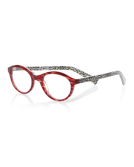 Soft Kitty Round Patterned Readers, Red/Black/White