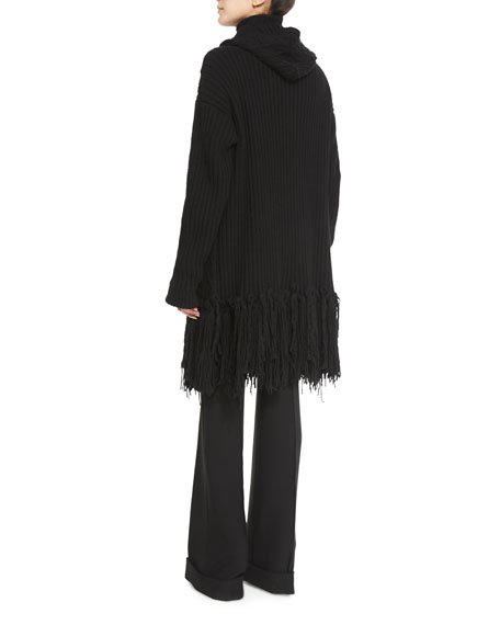Fringed Cable-Knit Cashmere-Blend Coat