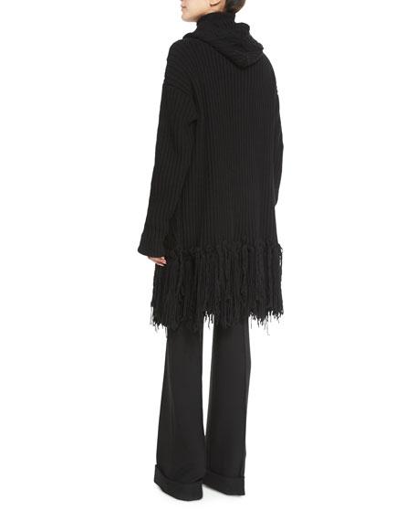 Fringed Cable-Knit Cashmere-Blend Coat, Black