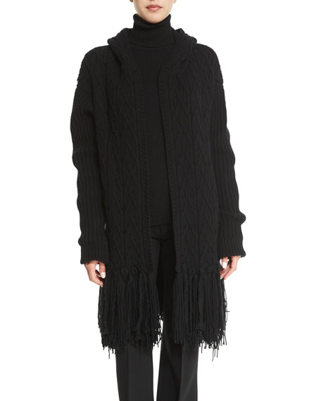 Agnona Fringed Cable-Knit Cashmere-Blend Coat, Black