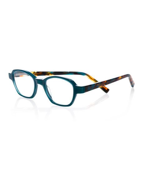 EYEBOBS Haute Flash Square Two-Tone Readers in Teal