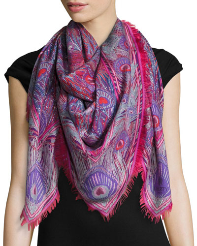 Hera Feather-Print Cashmere & Silk Square Scarf, Red
