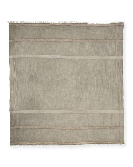 Metallic-Striped Wool-Blend Scarf, Light Gray