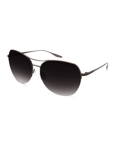 Barton Perreira Quimby Titanium Butterfly Sunglasses, Pewter