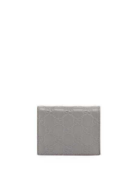 Guccissima Card Case, Gray