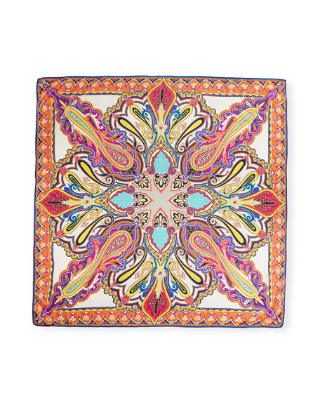 Bombay Metallic Paisley Silk-Blend Scarf, White/Multicolor