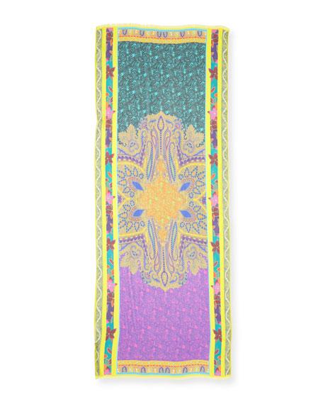 Tropical Floral Silk Chiffon Scarf, Yellow/Purple