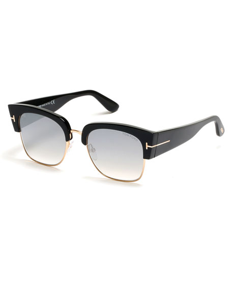 Dakota Semi-Rimless Cat-Eye Flash Sunglasses, Smoke/Black