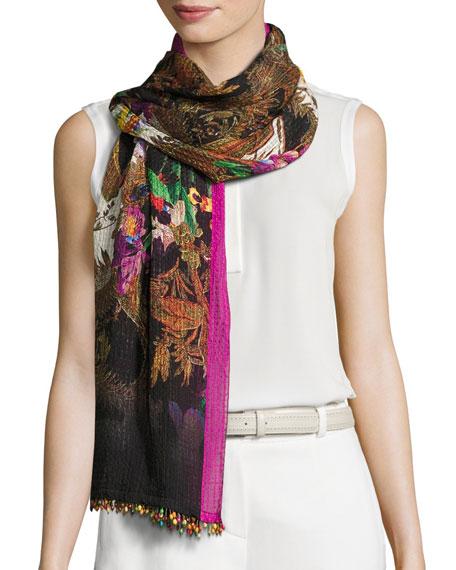 Etro Floral Silk Jacquard Scarf, Black/Pink