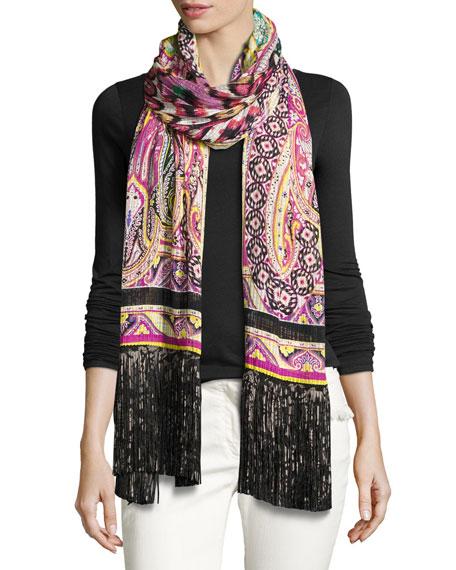 Etro Silk Batik Paisley Fringe Scarf, Black/Pink