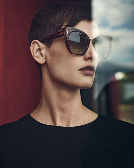 Samantha Cropped Cat-Eye Sunglasses, Brown/Havana