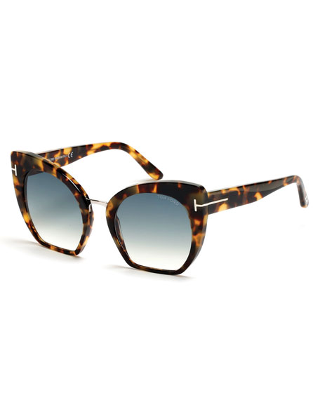 Samantha Cropped Cat-Eye Sunglasses, Turquoise/Tortoise