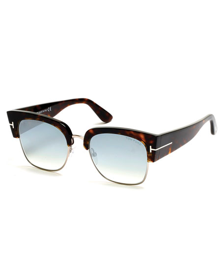 TOM FORD Dakota Semi-Rimless Cat-Eye Flash Sunglasses,