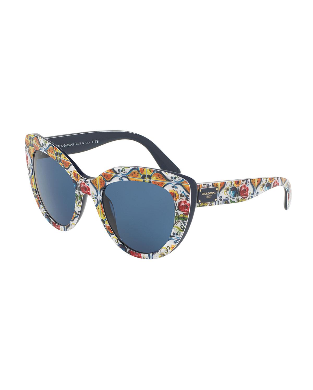 d0da4a17677 Dolce   Gabbana Floral Majolica Monochromatic Cat-Eye Sunglasses ...