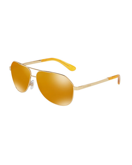 Dolce & Gabbana Metal Aviator Sunglasses, Gold