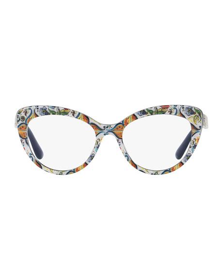 floral majolica cat eye optical frames bluewhite - Dolce And Gabbana Glasses Frames
