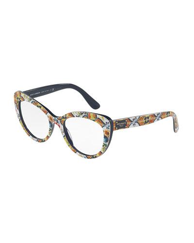Floral Majolica Cat-Eye Optical Frames, Blue/White