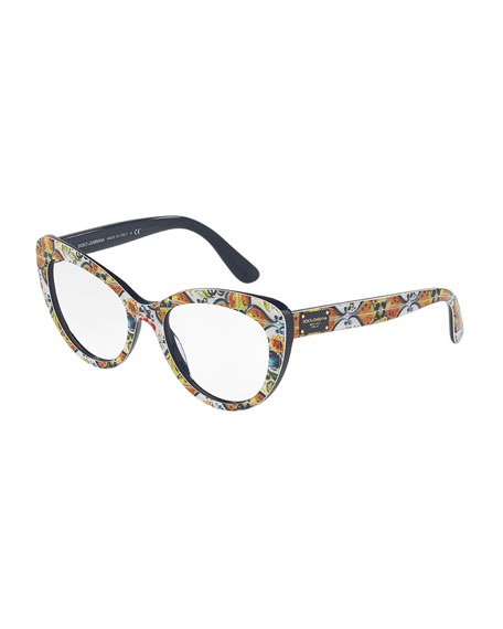 Dolce & Gabbana Floral Majolica Cat-Eye Optical Frames,