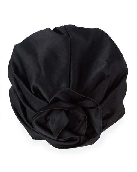 Rosette Silk Satin Turban Hat, Black