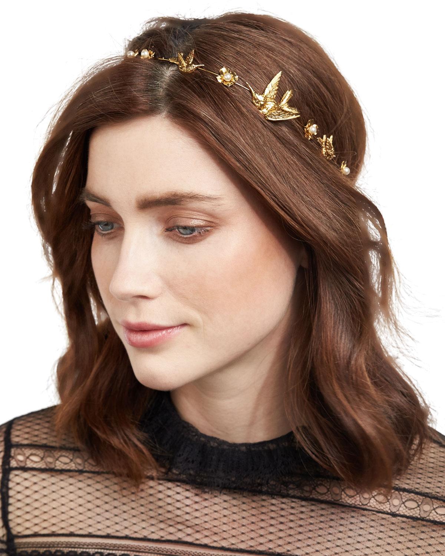Jennifer Behr Wren Floral Swarovski® Pearl Bandeau Headband  111399a99af