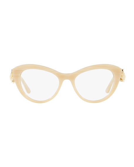 Flowers Lace Cat-Eye Optical Frames, Beige