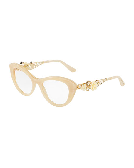 Dolce & Gabbana Flowers Lace Cat-Eye Optical Frames,