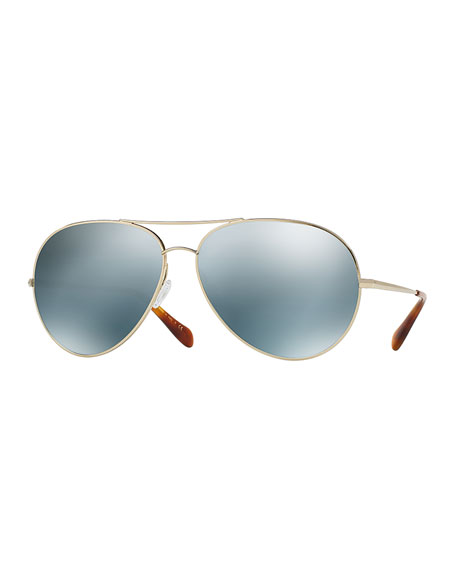 Oliver Peoples Sayer Mirrored Aviator Sunglasses, Silver