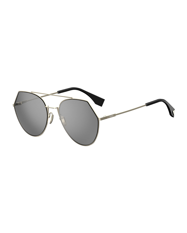 7f06342bd3fb Fendi Eyeline Mitered Aviator Sunglasses