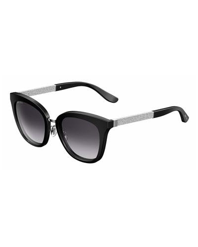 Fabry Square Metallic Sunglasses, Black