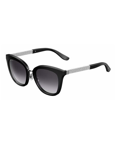 Jimmy Choo Fabry Square Metallic Sunglasses, Black