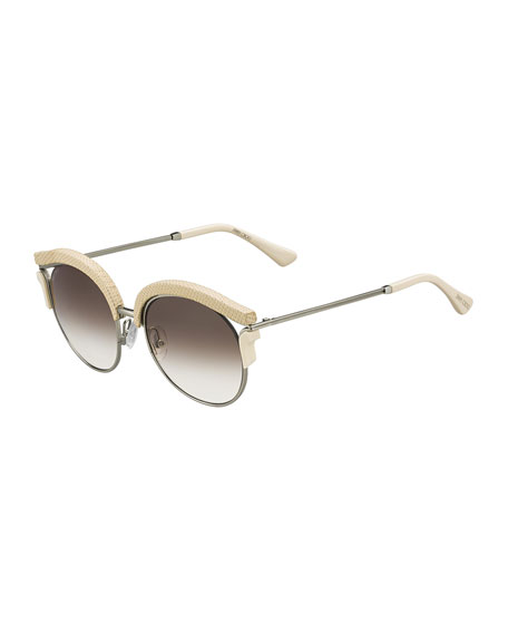 Jimmy Choo Lash Snakeskin Cat-Eye Sunglasses