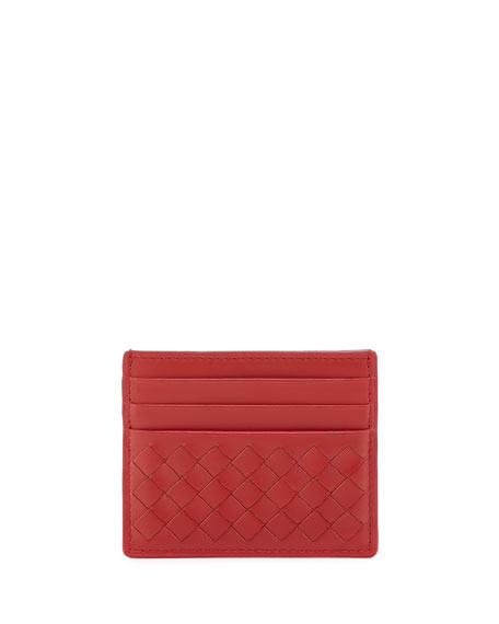 Bottega Veneta Intrecciato Leather Card Case, China Red