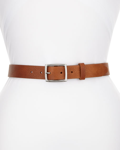 Pebbled Boyfriend Leather Belt, Brown