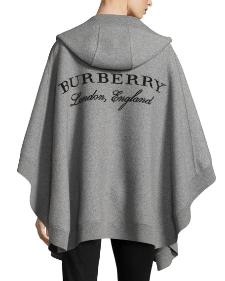 Carla Hooded Open-Front Poncho, Gray