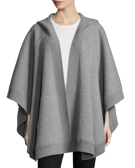 Burberry Carla Hooded Open-Front Poncho, Gray