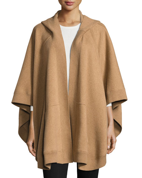 Burberry Carla Hooded Open-Front Poncho, Camel