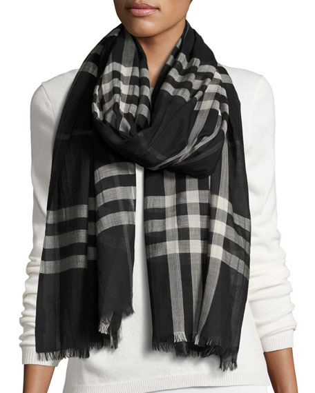 Burberry Gauze Giant Check Scarf, Black