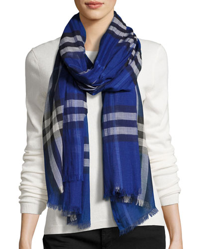 burberry scarf outlet online 6y8o  Gauze Giant Check Scarf, Dark Blue