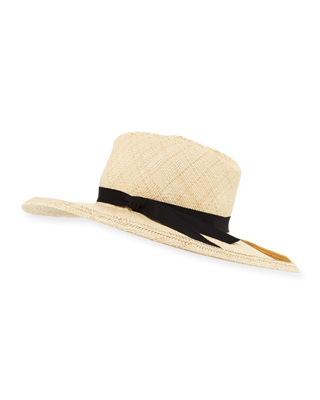 Gladys Tamez Kelly Pinched Straw Sun Hat, Cream