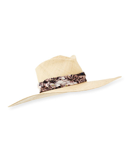 Gladys Tamez Audrey Paisley-Band Wide Sun Hat, Cream