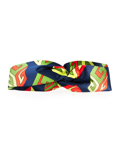 Gucci GG Wallpaper Silk Duchesse Headband, Navy