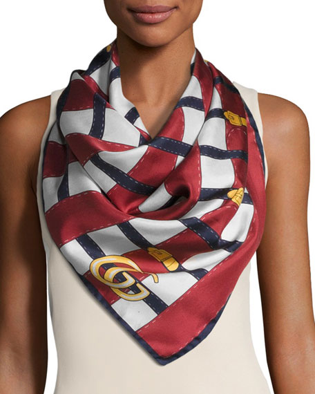 Belt Trompe l'Oeil Silk Scarf, Blue/White/Red