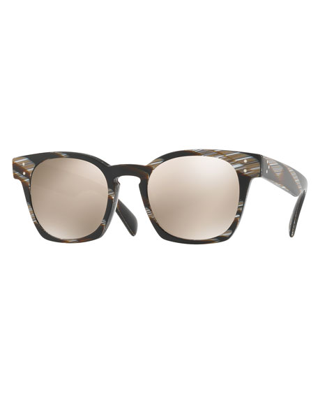 Oliver Peoples Byredo Square Mirrored Sunglasses, Black Horn
