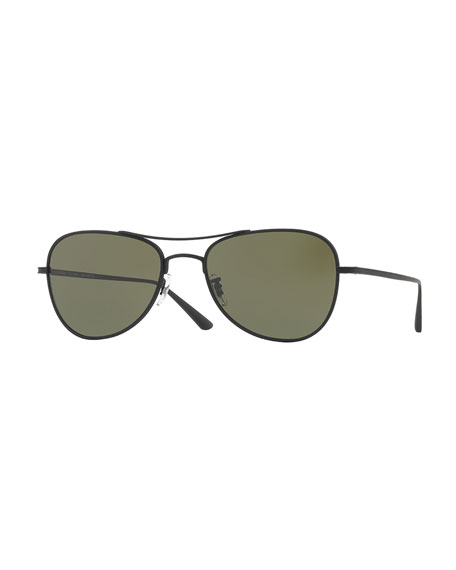 Executive Suite 53 Monochromatic Aviator Sunglasses, Black