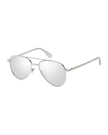 Le Specs Luxe Imperium Mirrored Aviator Sunglasses, Platinum