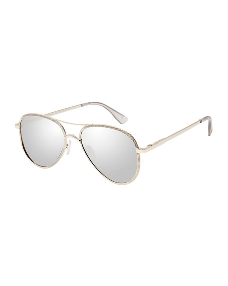 Le Specs Luxe Empire Laser-Cut Aviator Sunglasses, Rose/Gold