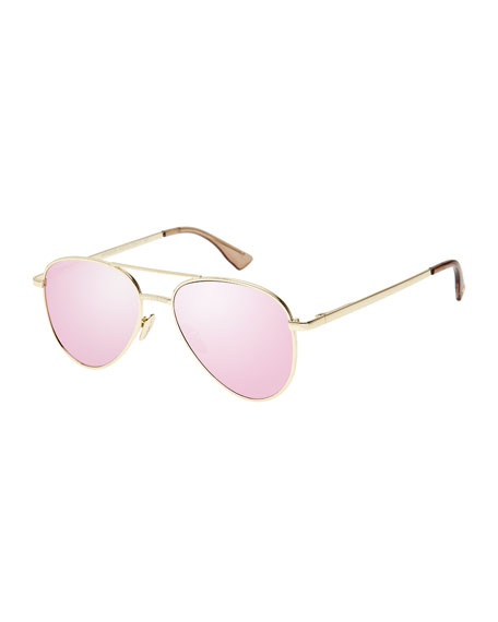 Imperium Mirrored Aviator Sunglasses, Pink/Gold